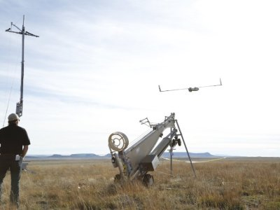 Insitu and BNSF officials launch ScanEagle for the historic first flight. (PRNewsFoto/Insitu, Inc.)