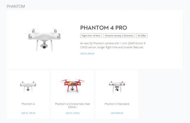 DJI Store Page for Phantom range