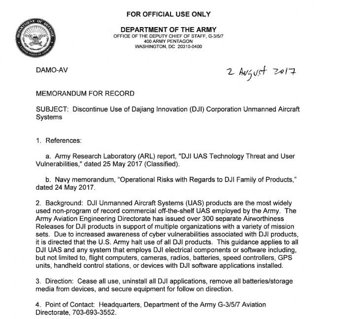 US Army calls for units to discontinue use of DJI equipment - sUAS - army memo