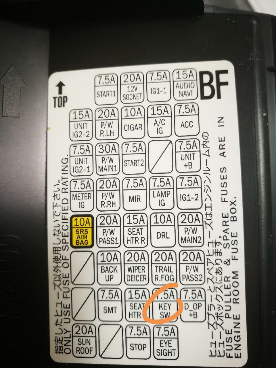 for a 2010 subaru legacy fuse box diagram