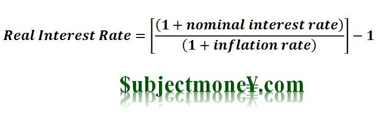 Real Interest Rate Definition Subjectmoney - annual interest rate formula