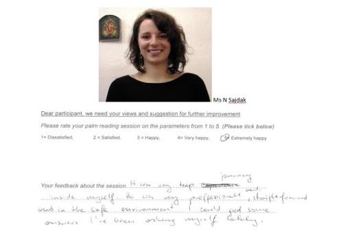 Palm reading feedback review 2 Subodh Gupta London Ms N Sazdak