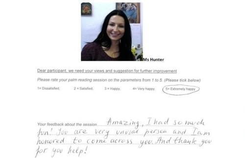 Palm reading feedback review 3 Subodh Gupta London Ms Hunter