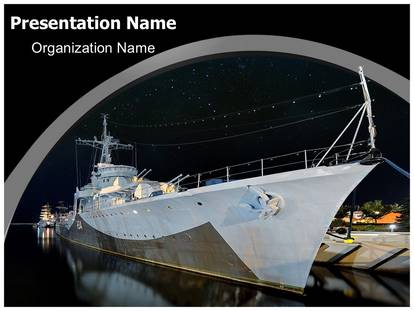 Navy Boat PowerPoint Template Background SubscriptionTemplates - navy powerpoint templates