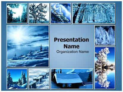 Winter Snowfall Collage PowerPoint Template Background