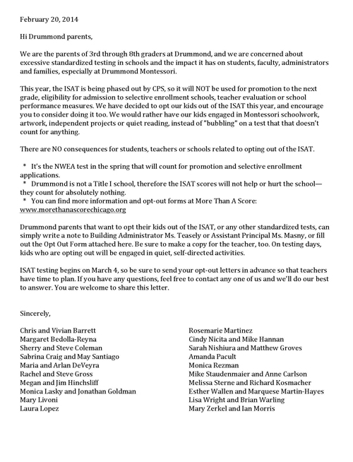 Drummond parents vote to opt out of ISAT - Substance News - letters to the parents