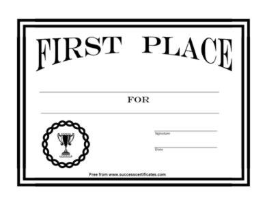 1st Place Certificate Templates | Sample Resume Service