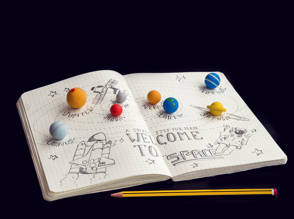 Solar System Erasers 8 Tiny Planets Made From Rubber