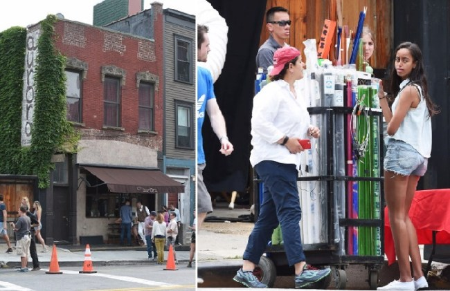 **NO NY PAPERS** Brooklyn, NY - Actress, Lena Dunham, and her co-stars, Jemima Kirke and Adam Driver, seen filming 'Girls' at Aurora Restaurant in Brooklyn.  Lena Dunham, was seen in a short gray t shirt dress and Nike sneakers, while her co-star, Jemima Kirke, sported a 'Garfield' graphic tee, cuffed jeans, and tan sandals.  AKM-GSI           July 2, 2015  ***NO NY PAPERS***  To License These Photos, Please Contact :  Steve Ginsburg (310) 505-8447 (323) 423-9397 steve@akmgsi.com sales@akmgsi.com  or  Maria Buda (917) 242-1505 mbuda@akmgsi.com ginsburgspalyinc@gmail.com