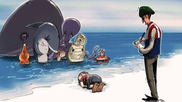 شاهد بالصور .. فنانو العالم يودّعون آلان السوري برسوم تدمي القلب