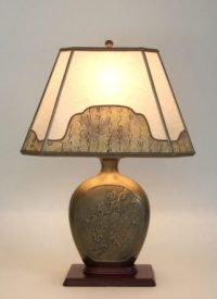 Ephraim Faience Art Pottery Table Lamp: Pussywillow Mica