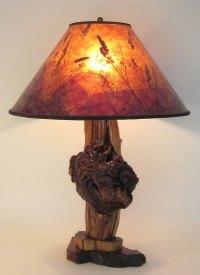 Rustic Cedar Burl Lamp, Sunset Mica Shade, By Sue ...
