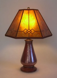 Copper Small Table Lamp, Amber Windowpane Mica Mission