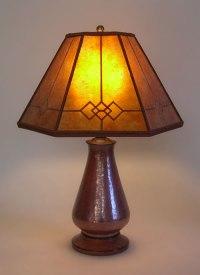 Copper Small Table Lamp, Amber Windowpane Mica Mission ...