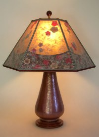 Hammered copper lamp cherry blossoms mica lamp shade   Sue ...