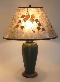 Ephraim Faience Integrity pottery lamp, Green mica oval ...