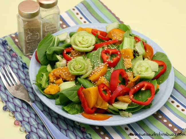 Persimmon Bok Choy Salad. Bok Choy Salad with Sesame Ginger Dressing