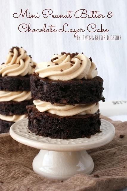 Mini, Peanut Butter, Chocolate, Layer, Cakes, Dessert, www.sugarandsoul.co