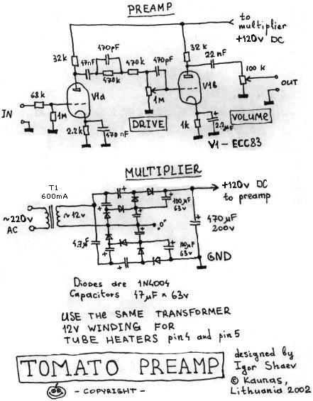 guitar preamplifier schematic all tube kbppscom