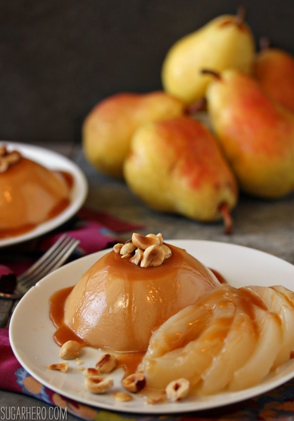 Caramel Panna Cotta with Poached Pears | SugarHero.com