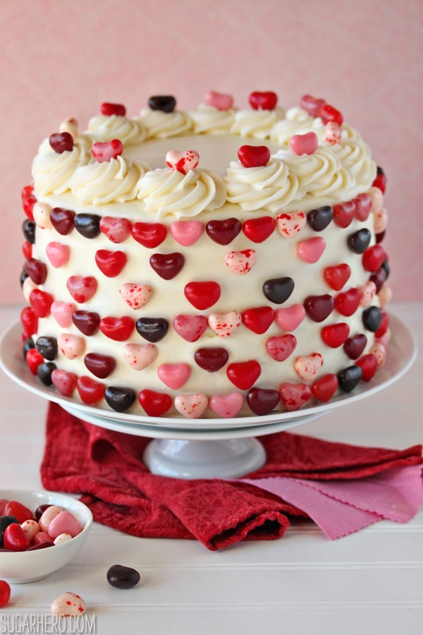 Sky-High Pink and Red Velvet Cake   SugarHero.com