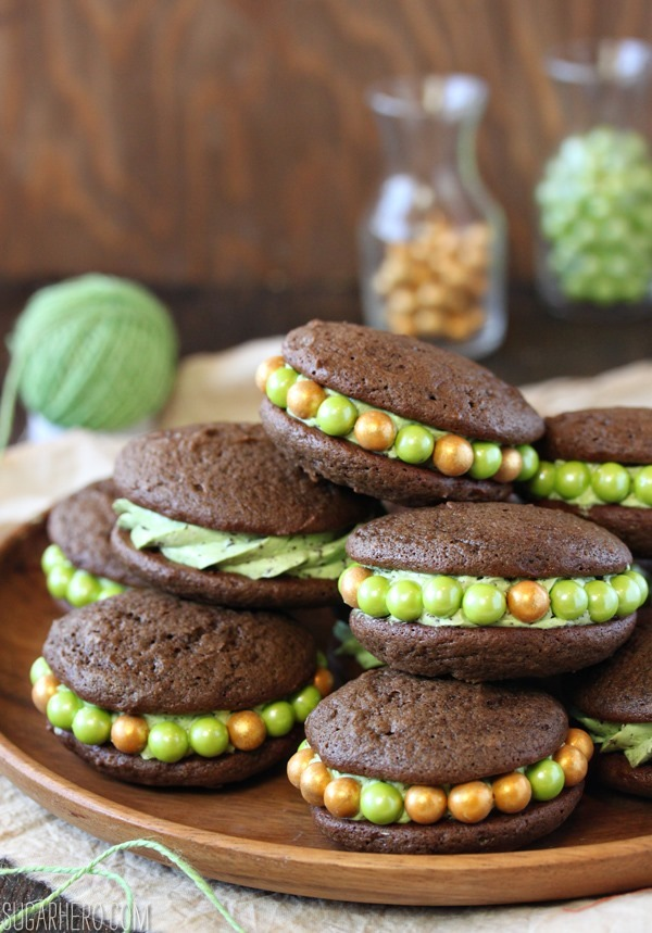 Mint Chocolate Chip Whoopie Pies | SugarHero.com