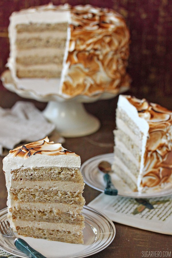 Banana Meringue Cake | From SugarHero.com