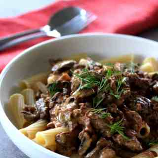 Slow Cooker Beef Stroganoff by Sugar Salt Magic. A delicious slow cooked version of the old favourite Beef Stroganoff. Creamy & Filled with Mushrooms