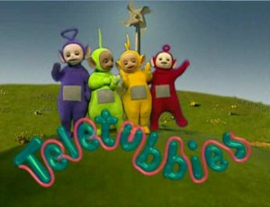 Teletubbies de gauche à droite: Tinky Winky, Dipsy, Lala, Pô