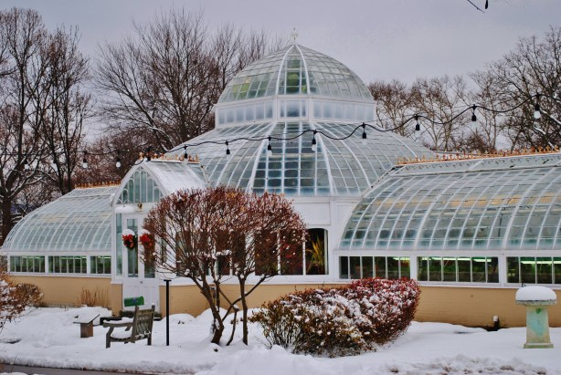 The greenhouse on the grounds of the Frick Art and Historical Center.