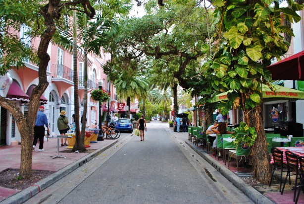Espagnola Way, a leaf-lined pedestrian street two blocks from the beach.