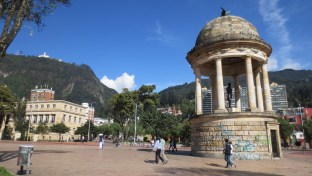 """Journalists' Square"" in Bogota city centre"