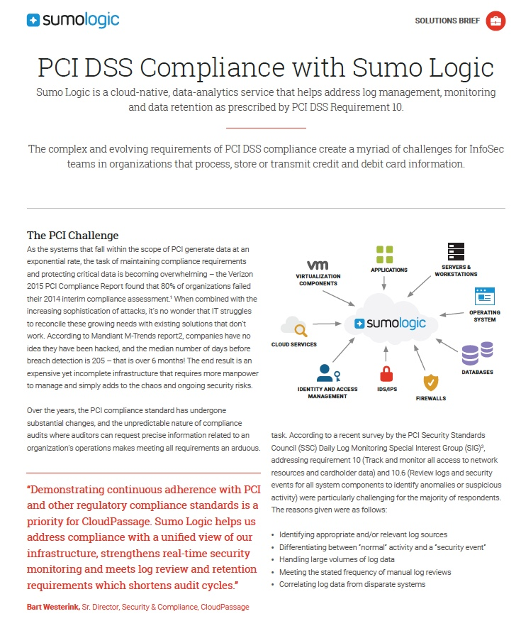 PCI DSS Compliance with Sumo Logic Sumo Logic