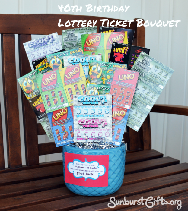 Lottery Ticket Bouquet 40th Birthday Gift Thoughtful