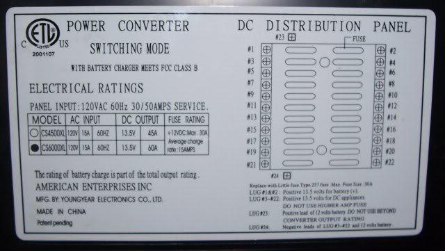 Model CS6000 power converter - Sunline Coach Owner\u0027s Club