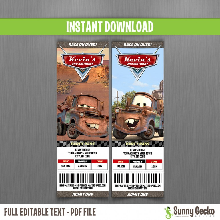 Cars Birthday Ticket Invitations (Mater) - Instant Download and Edit