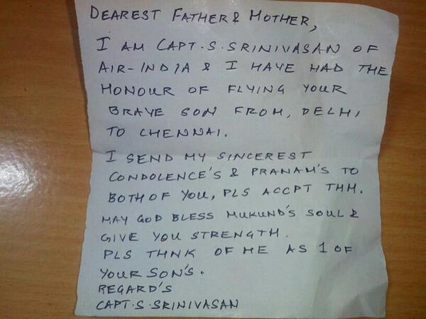 Pilot Writes Touching Letter To Parents Of Fallen Soldier