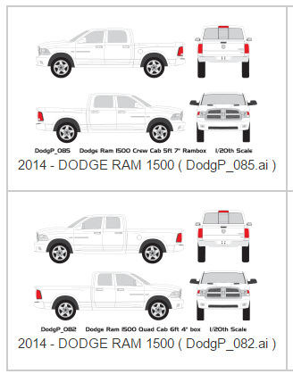 Dodge Ram 1500 Vehicle Wrap Templates