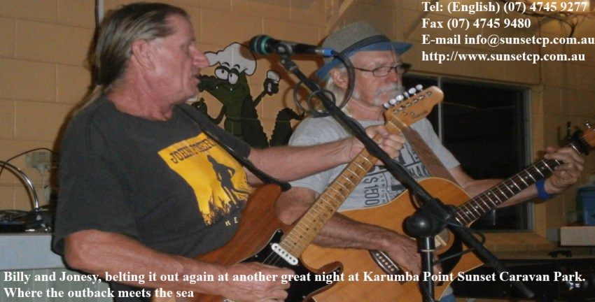 Billy-and-Jonesy-belting-it-out-again-at-another-great-night-at-Karumba-Point-Sunset-Caravan-Park