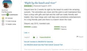 Testimonial Karumba Point Sunset Caravan Park Reviewed August 16, 2015