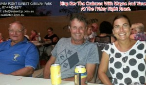 King Kev the Crabman with Wayne and Vanessa at the Friday night roast