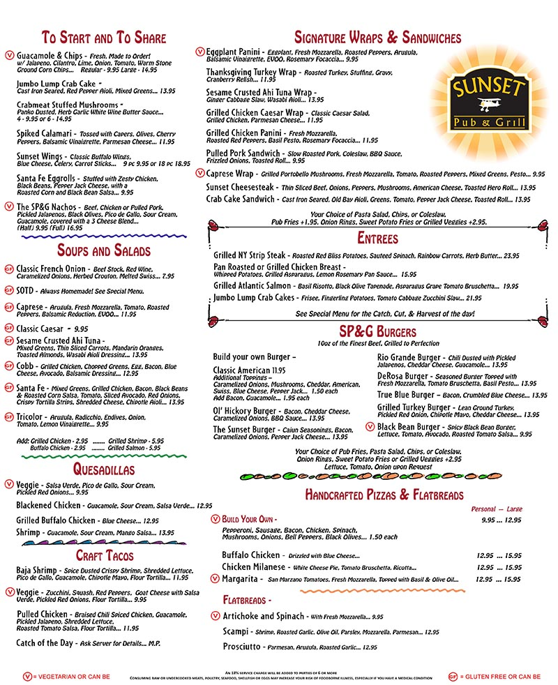 Dinner Menu Sunset Pub and Grill