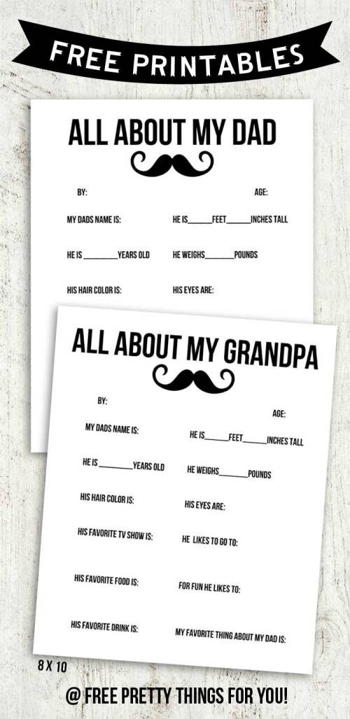 Appealing Day Printable All About My Dad Day Printable Round Up Far S Day Questionnaire Pa Far S Day Questionnaire 2016