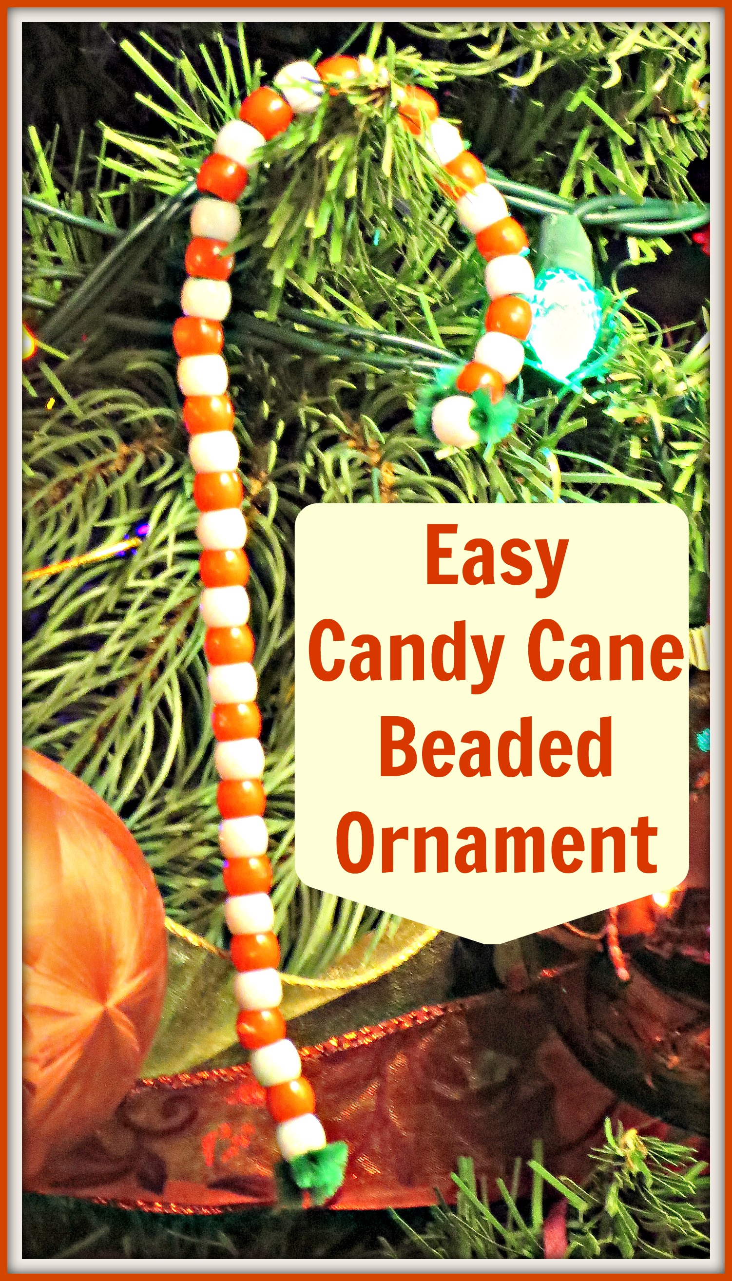 Easy candy cane beaded ornament craft for Easy candy cane crafts