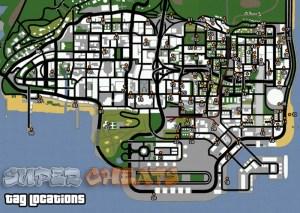 mega cheats resources: Grand Theft Auto: San Andreas - Tag Locations ...