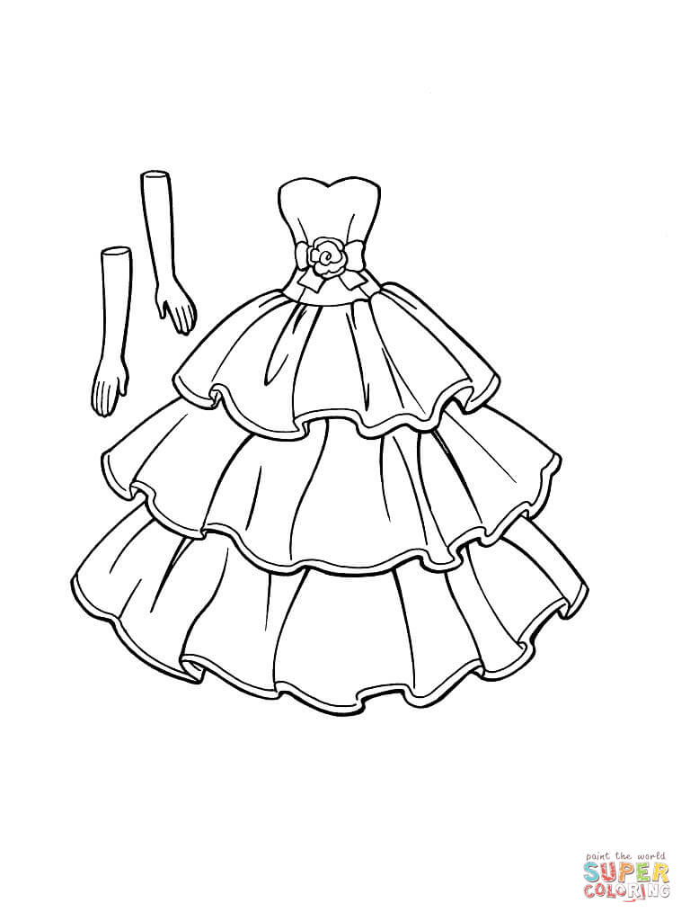 dress that goes with gloves coloring pages download