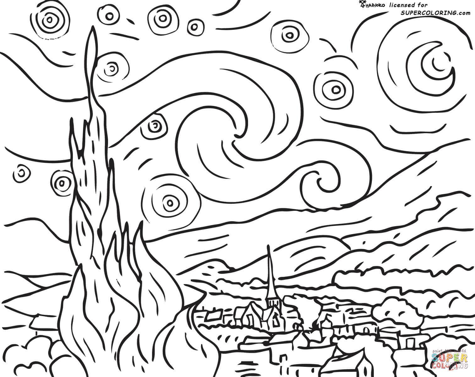 van gogh coloring pages to view printable version or color it online compatible with ipad and android tablets