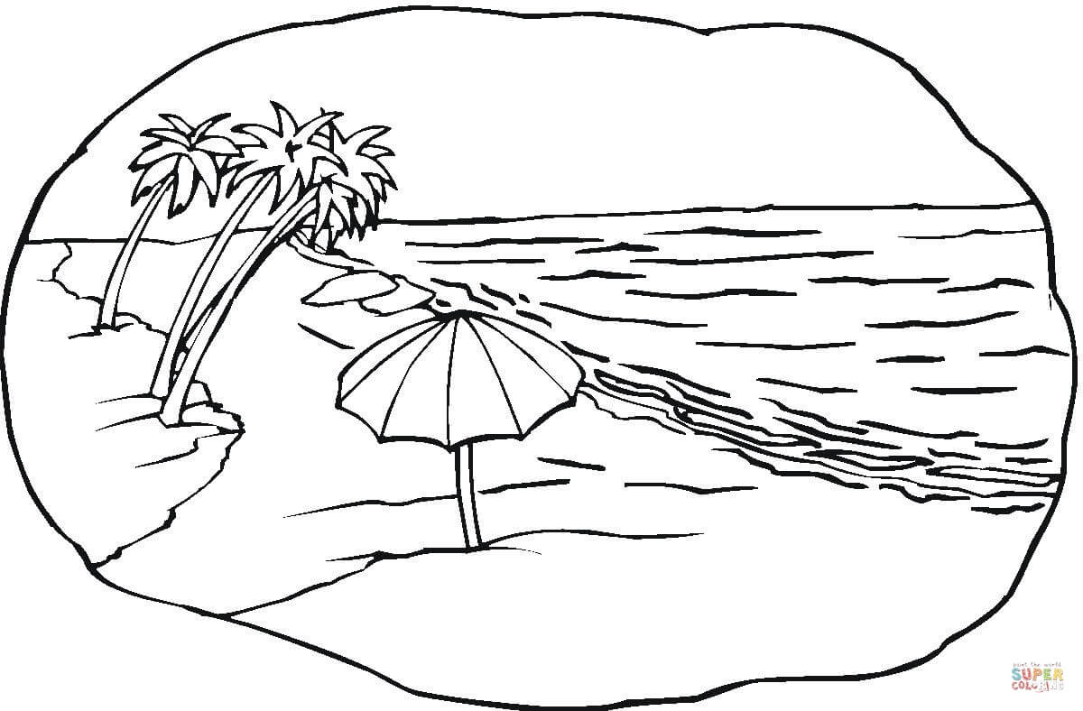 Click the beach scene coloring pages to view printable