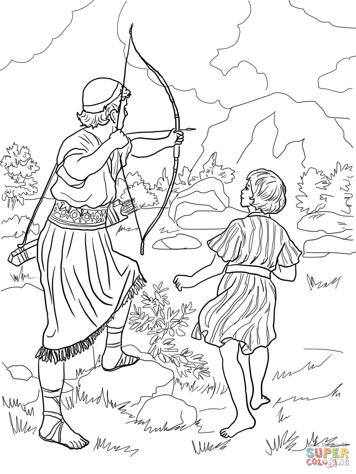 Click the jonathan warns david coloring pages
