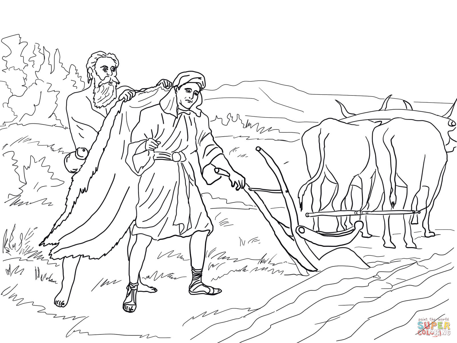 childrens coloring picture for elishas room - Bible Story Coloring Pages Naaman